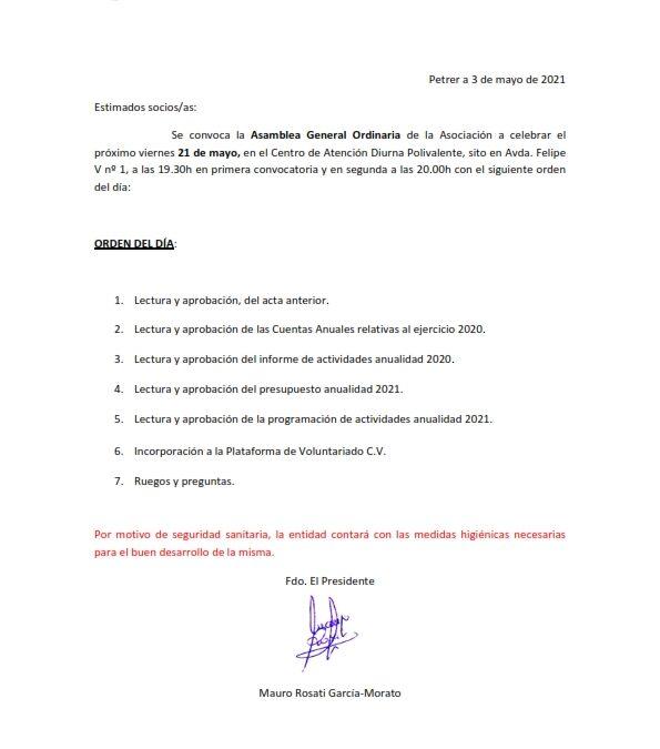 ASAMBLEA GENERAL DE SOCIOS 21 DE MAYO DE 2021